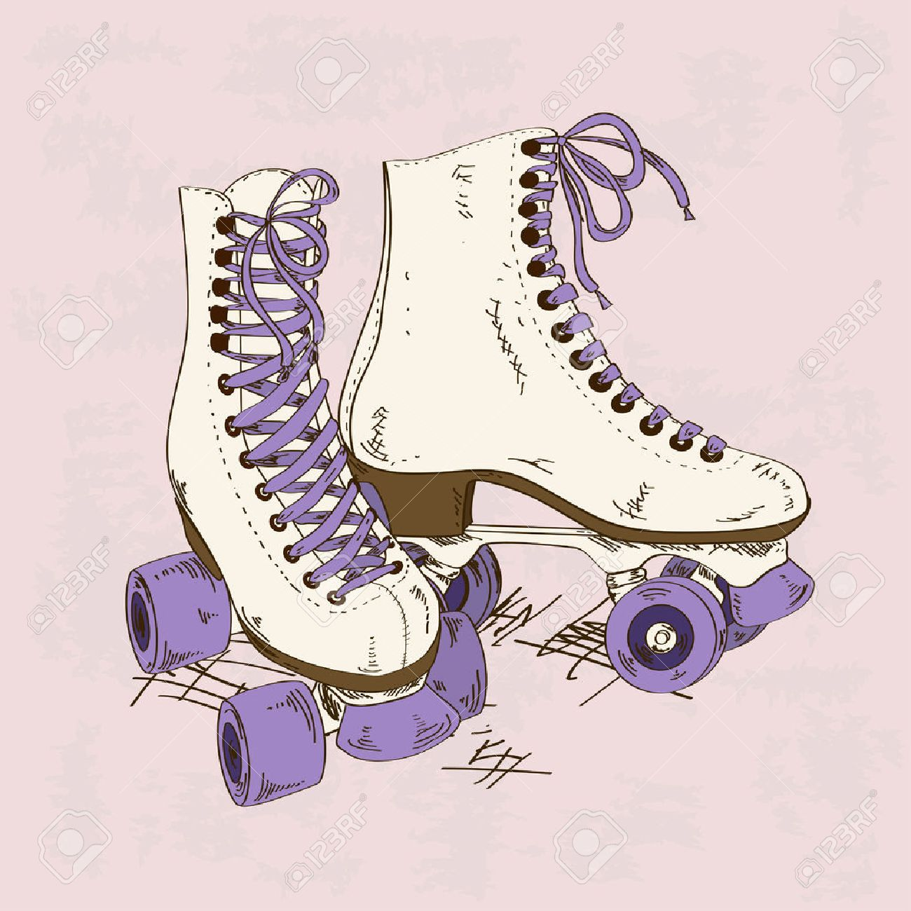 Illustration with retro roller skates on a grunge background Stock Vector - 24382437