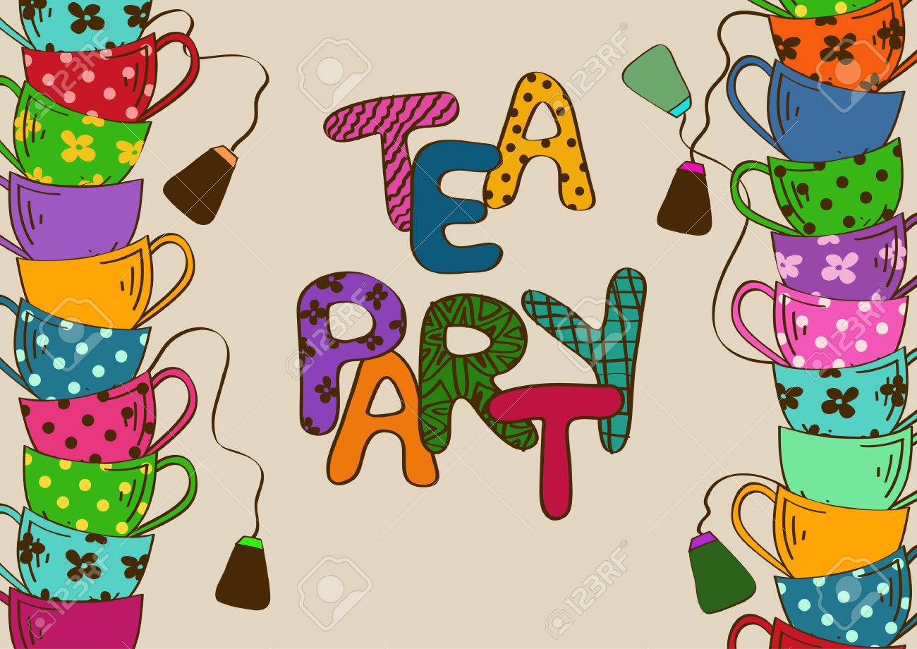 Elegant tea party invitation template with teacups cartoon vector - Tea Party Invitation With Cartoon Colorful Teacups Stock Vector 25016933