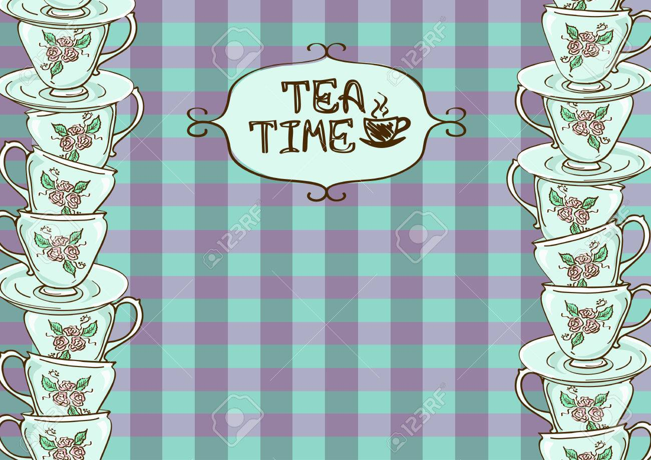 Elegant tea party invitation template with teacups cartoon vector - Tea Party Invitation With Teacups On Blue Purple Checkered Background Stock Vector 25016931