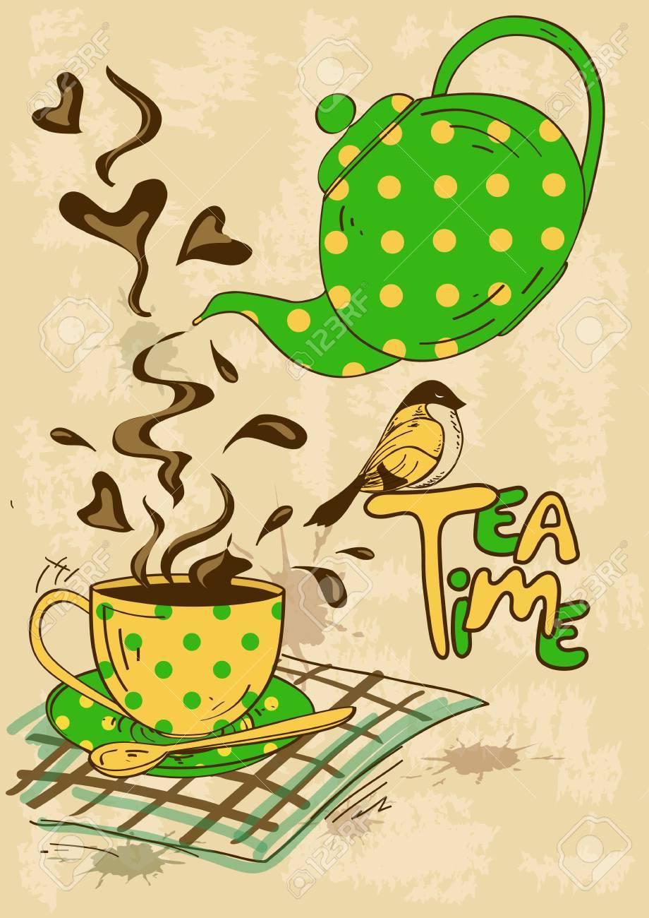 Vintage Tea Party Invitation With Teapot Teacup Saucer Spoon