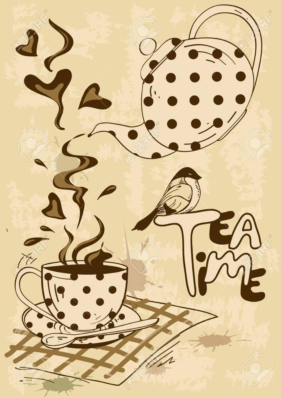 Elegant tea party invitation template with teacups cartoon vector - Vector Vintage Tea Party Invitation With Teapot Teacup Saucer Spoon And Bird