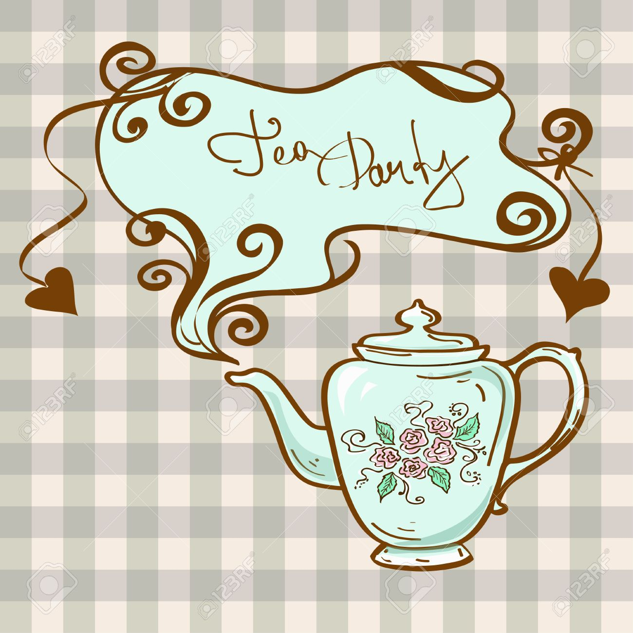 Tea Party Invitation With China Teapot On A Gray White Checkered ...