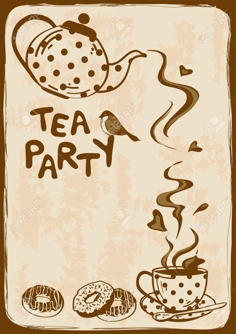 Vintage Tea Party Invitation With Teapot Teacup Saucer Spoon
