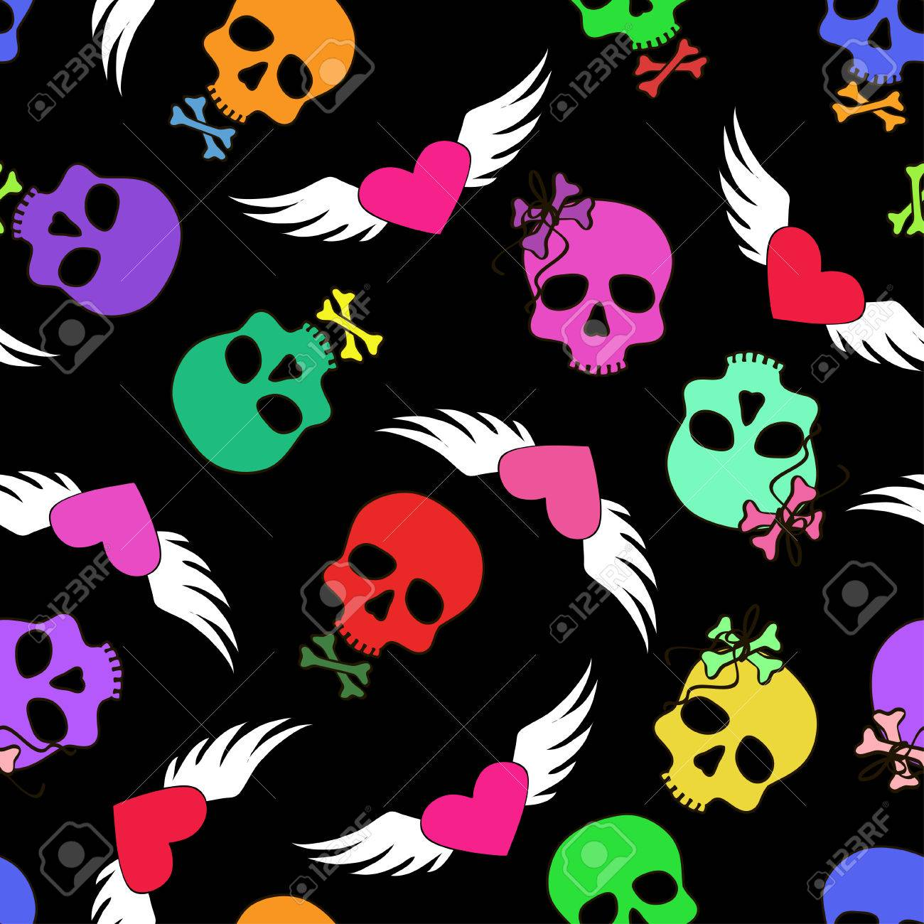 colorful seamless pattern of funny cartoon skulls and winged
