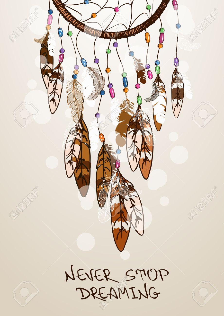 Ilustración étnico Con Los Indios Americanos Atrapasueños ...