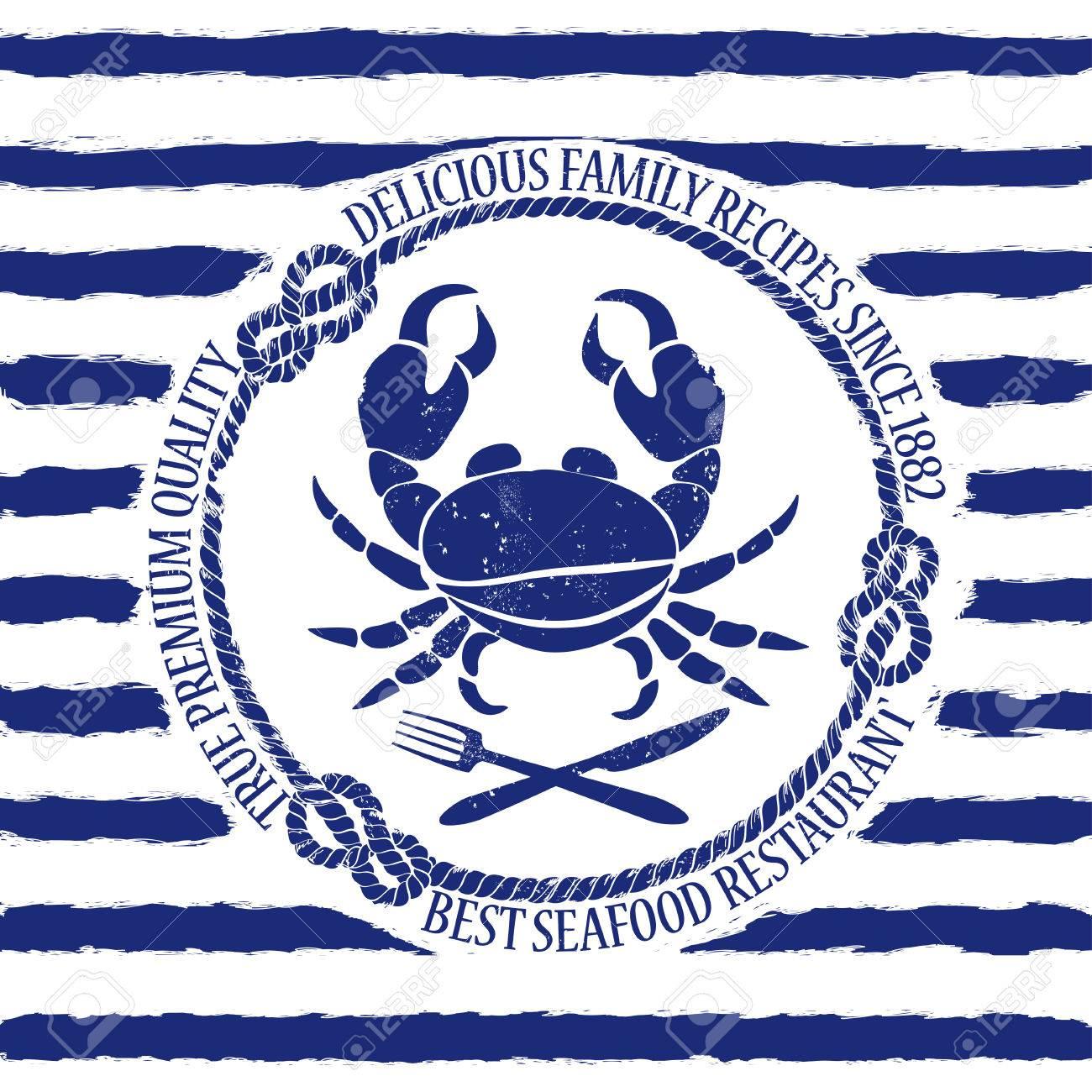 Crabe Avec Un Couteau bleu blanc fruits de mer emblème de restaurant avec crabe