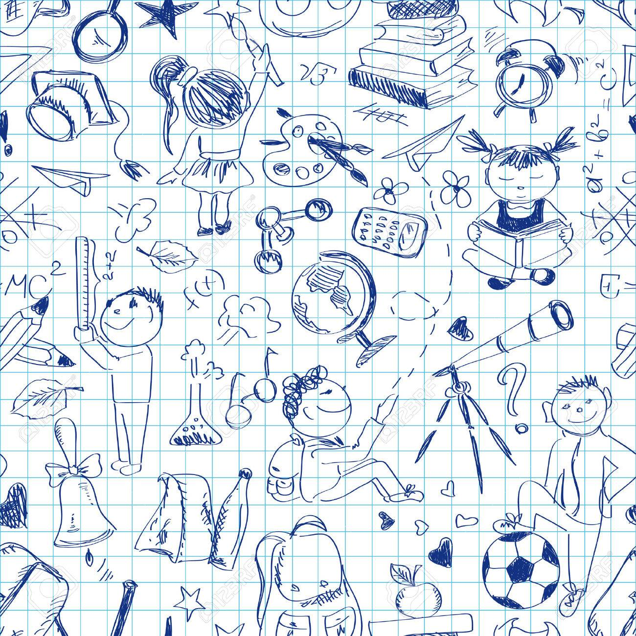 Fun Back To School Sketch Seamless Pattern On A Sheet Of Exercise ...