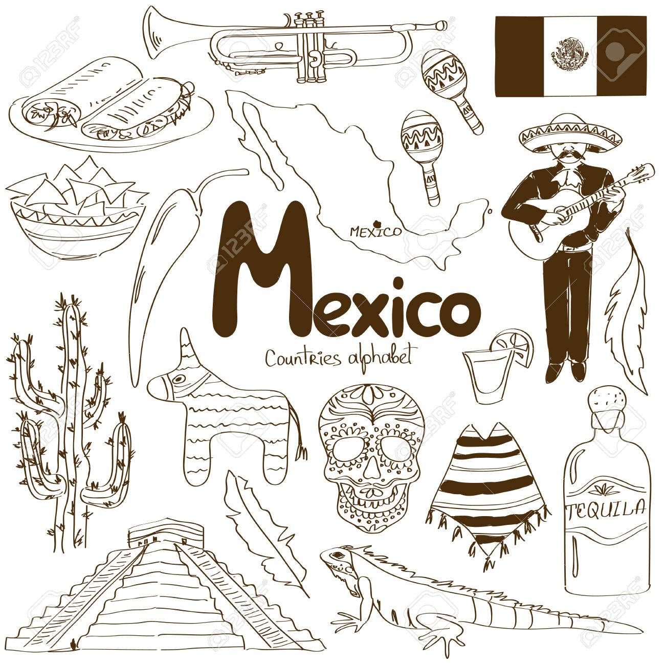 of Mexico icons  countries Mexico Country Vector