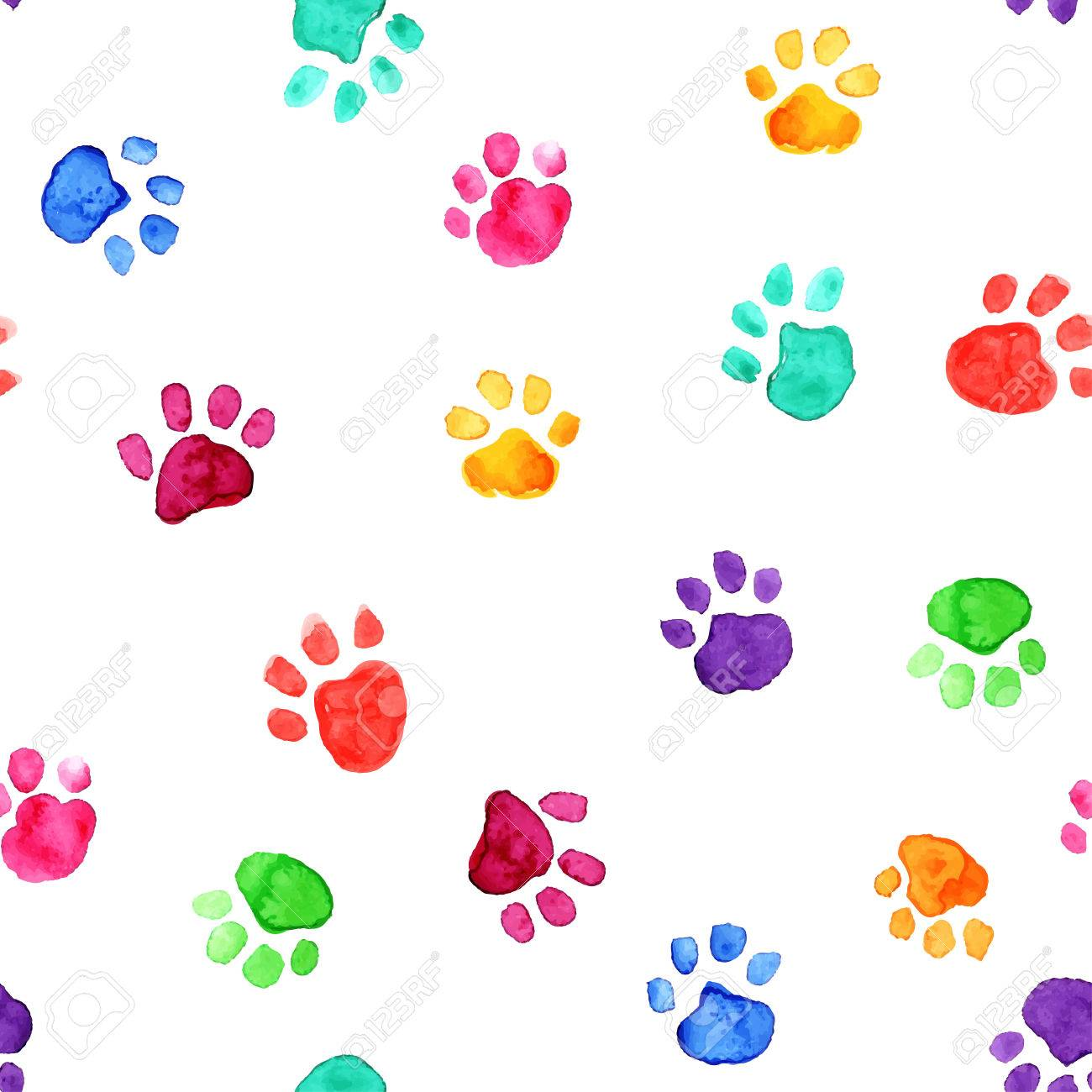 カラフルな手描き水彩イラスト動物の足跡 ロイヤリティフリークリップ