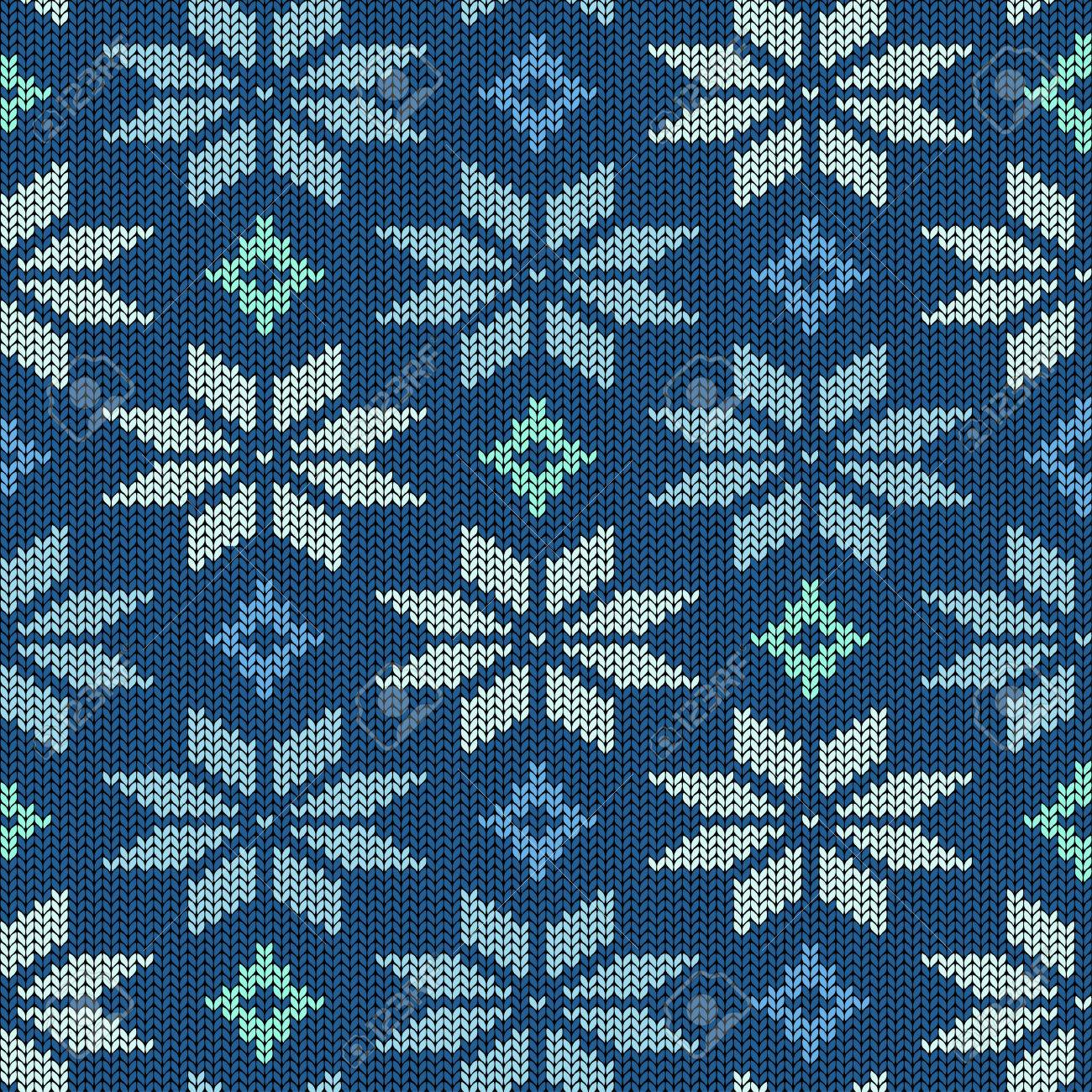 Seamless Knitted Pattern. Scandinavian Ornament With Snowflakes ...