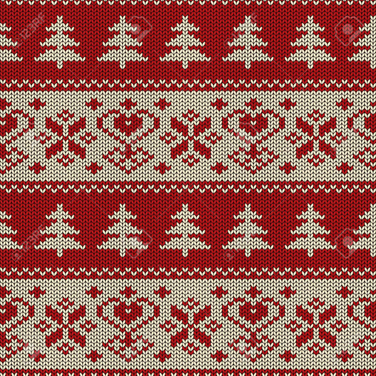 Seamless Knitted Pattern. Scandinavian Ornament With Trees And ...