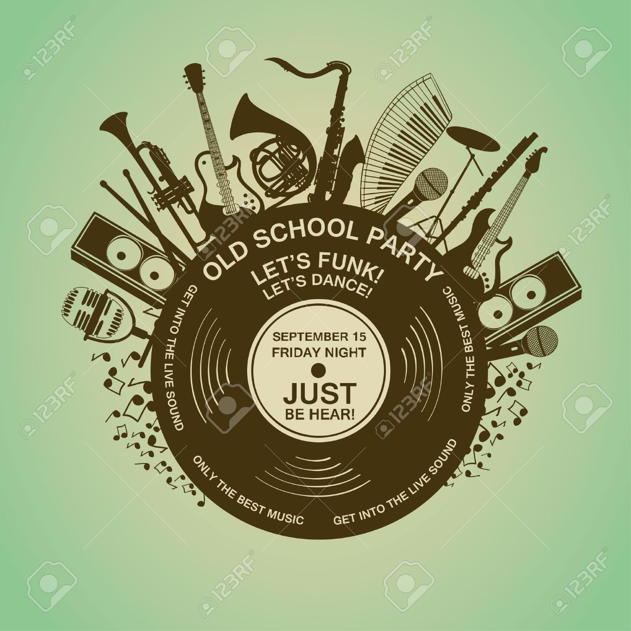 Illustration With Musical Instruments And Vinyl Record Music