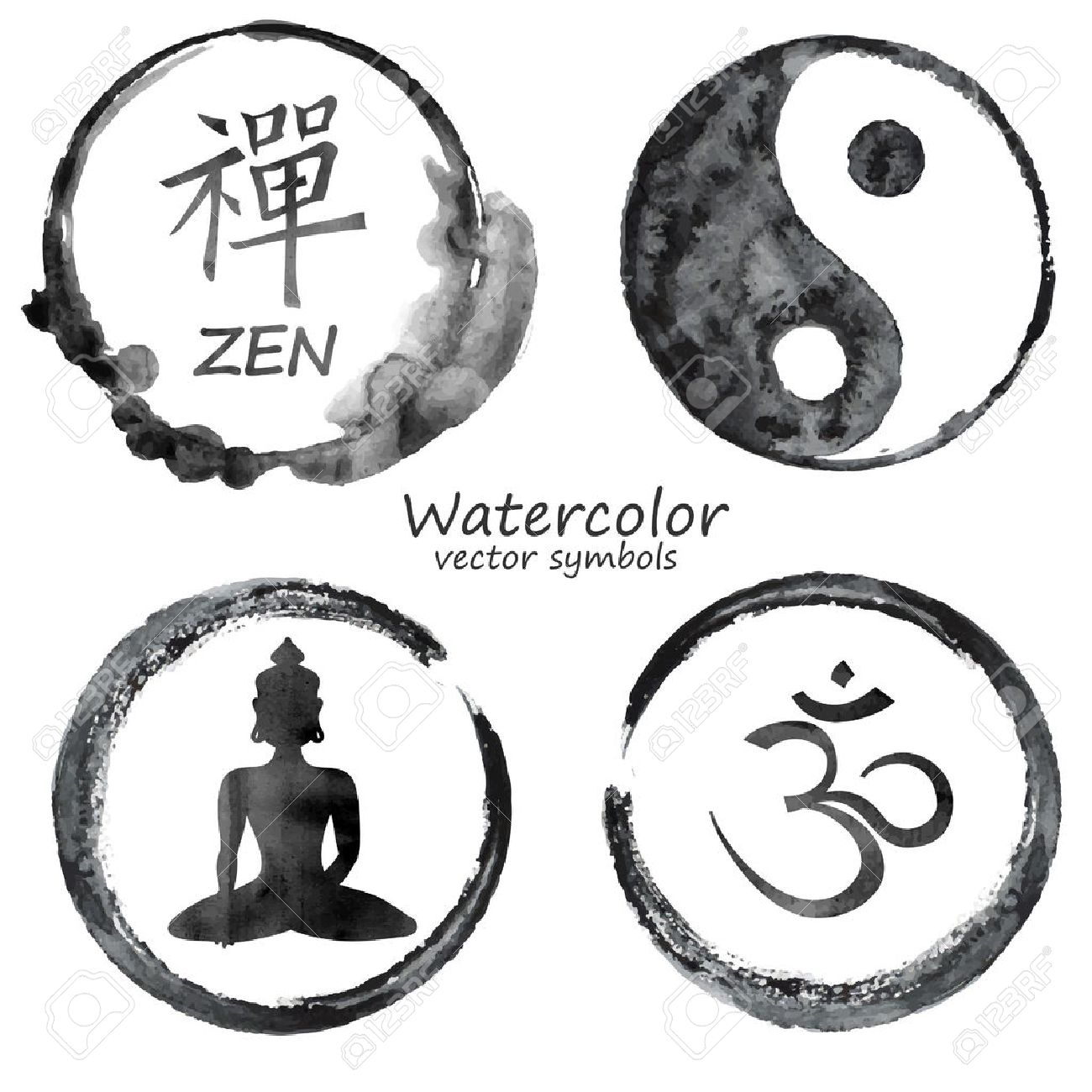 Vector Watercolor Set Of Yoga And Buddhism Label Icons Om Zen