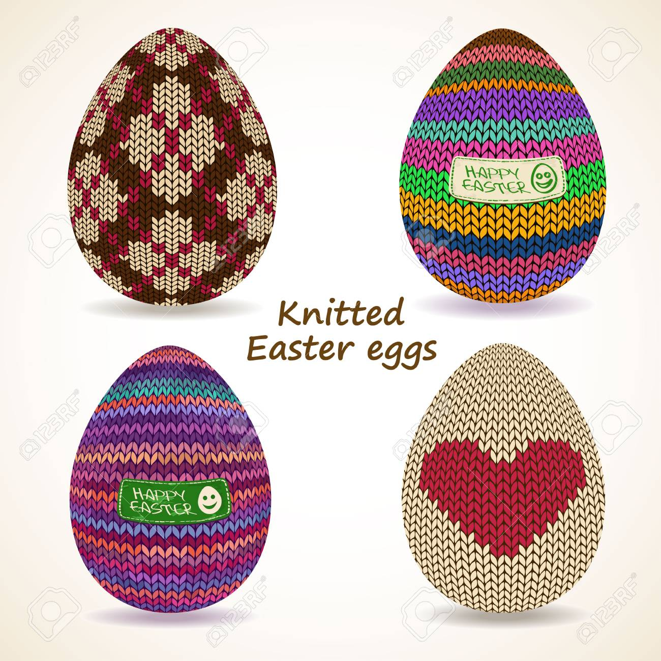 Colorful Set Of Isolated Knitted Easter Eggs Icons Royalty Free ...