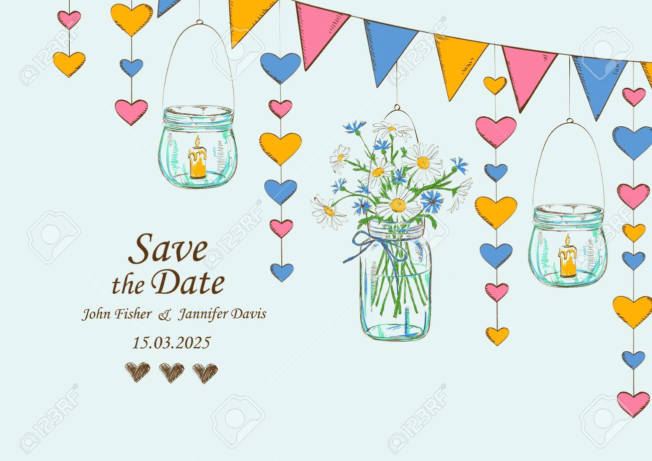 Einladung Zur Hochzeit Mit Rustikalen Dekoration Hängende Maurer Gläser,  Blumen, Kerzen Und Girlanden