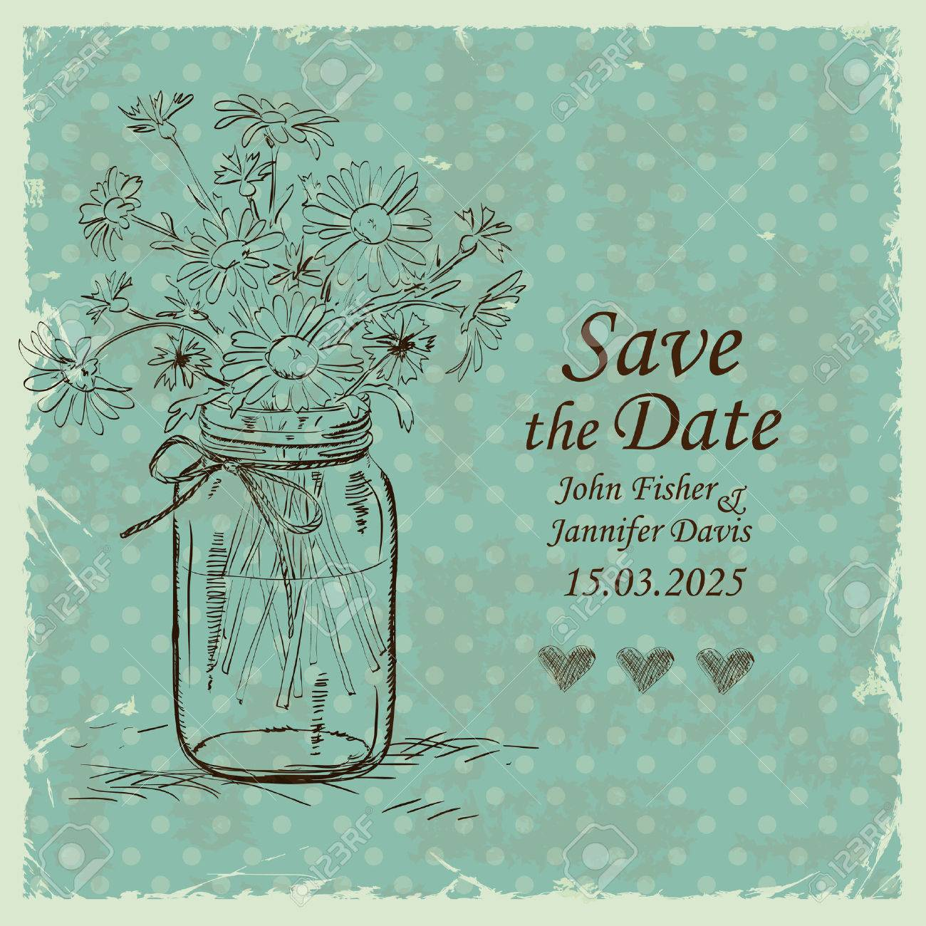 Retro Wedding Invitation With Mason Jar And Camomile Flowers ...