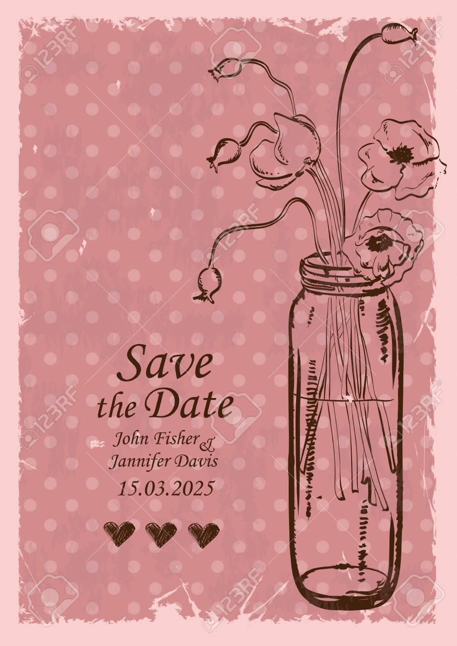Retro Wedding Invitation With Mason Jar And Poppy Flowers On ...
