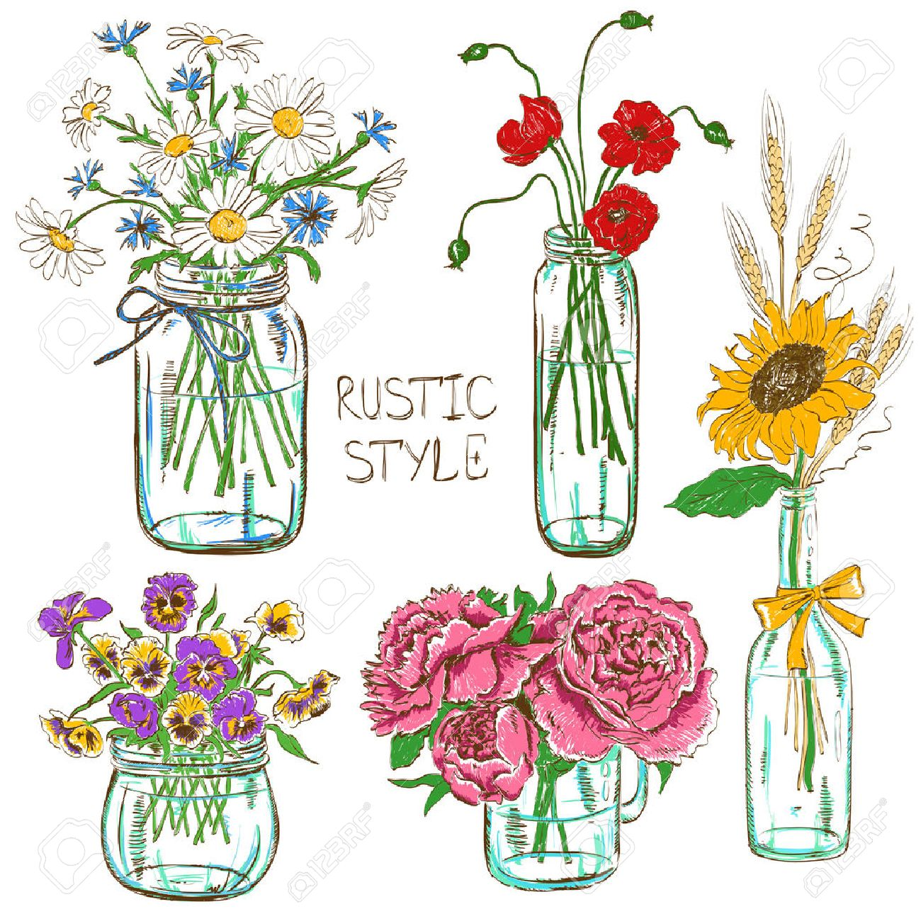 Colorful Set Of Isolated Mason Jars And Bottle With Flowers ...
