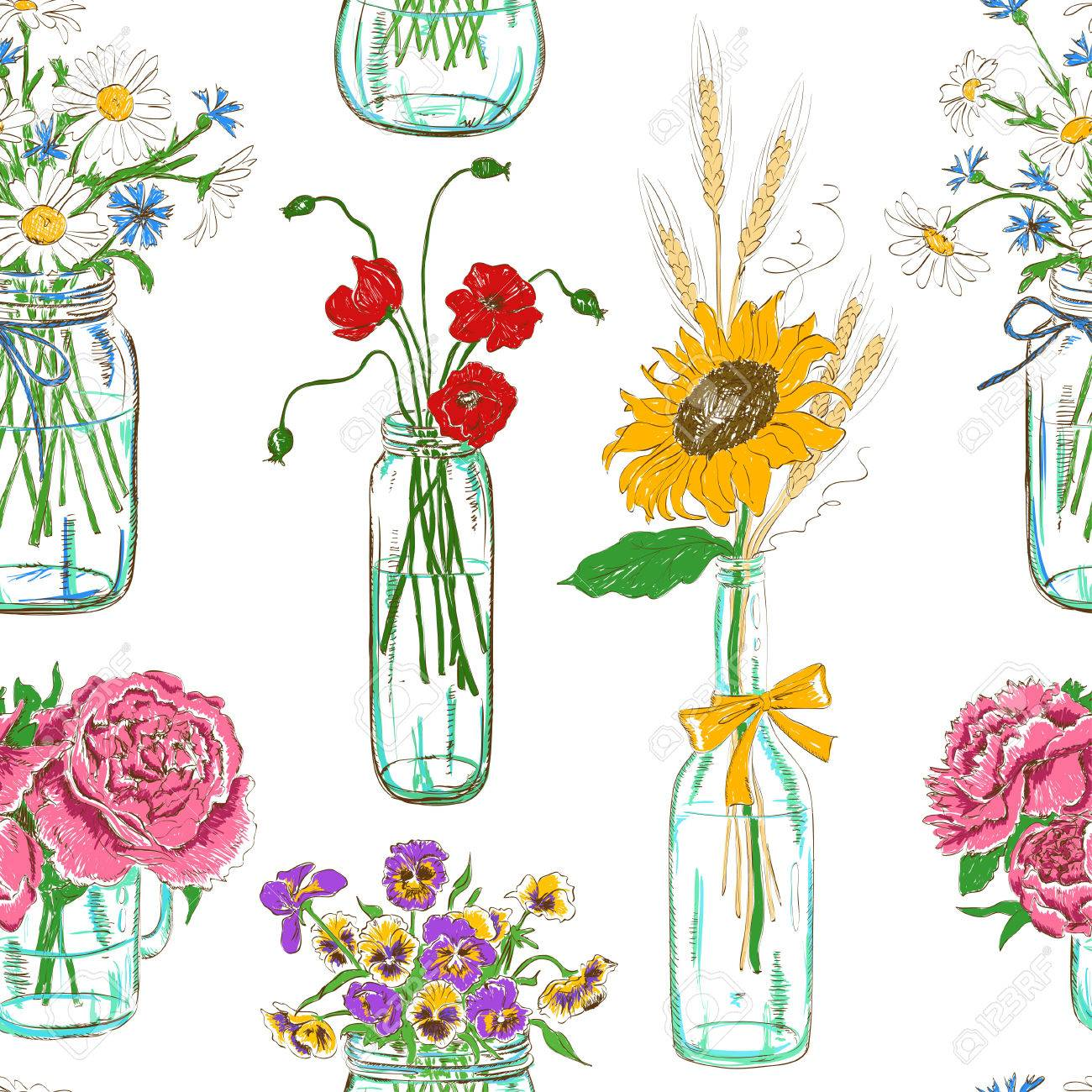 Colorful Seamless Pattern Of Sketch Mason Jars With Flowers Royalty ...