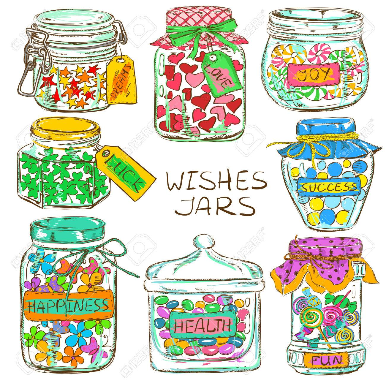 Cartoon Set Of Isolated Colorful Mason Jars With Funny Greeting Wishes Birthday Party Design Elements