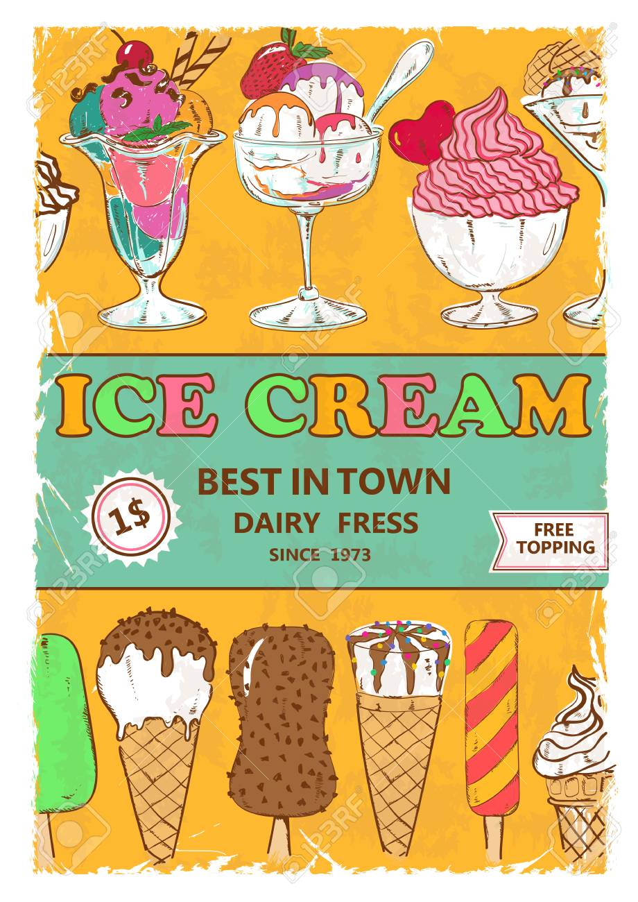 Design poster ice cream - Retro Colorful Cartoon Ice Cream Poster Design Menu Flyer Or Advertising Stock Vector