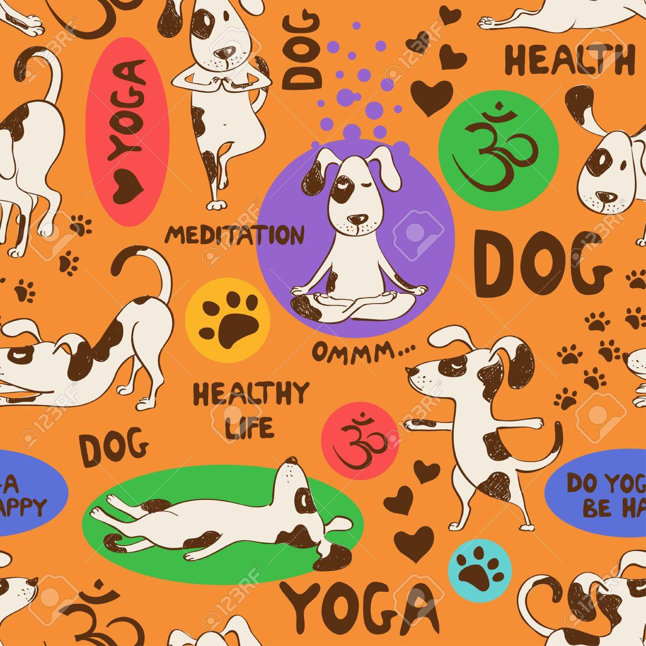 Lustig Nahtlose Muster Mit Comic-Hund Macht Yoga Position Auf ...