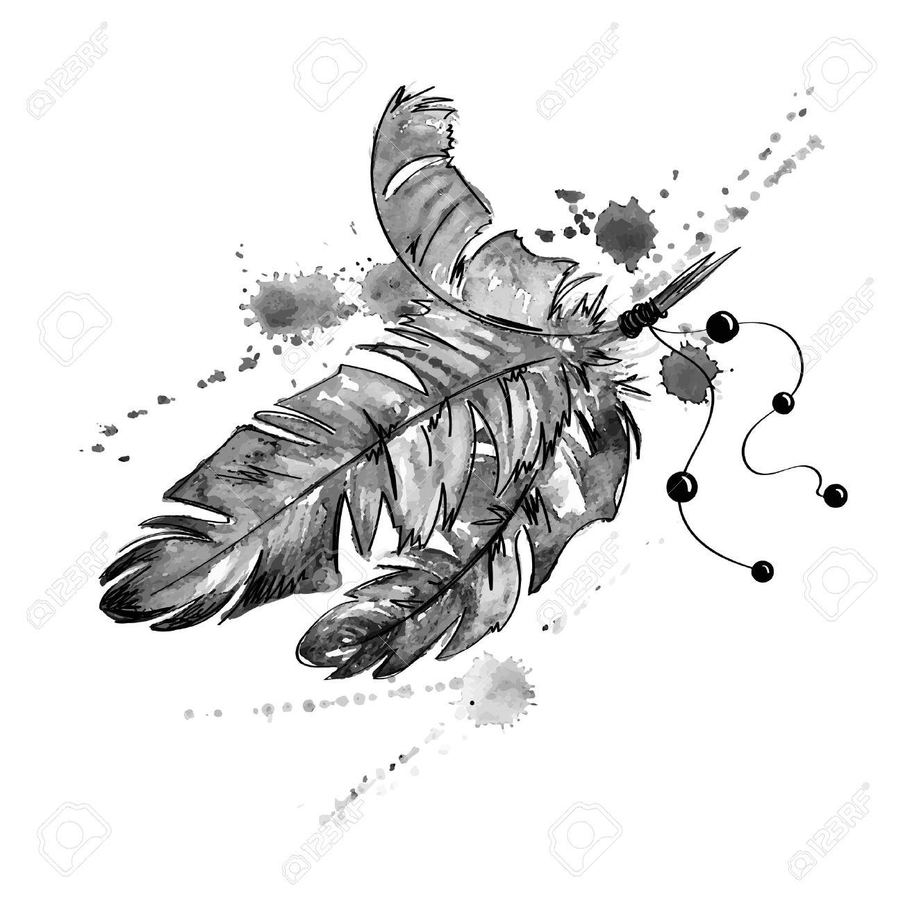 黒と白の手には鳥の羽と水彩のイラストが描かれましたのイラスト素材