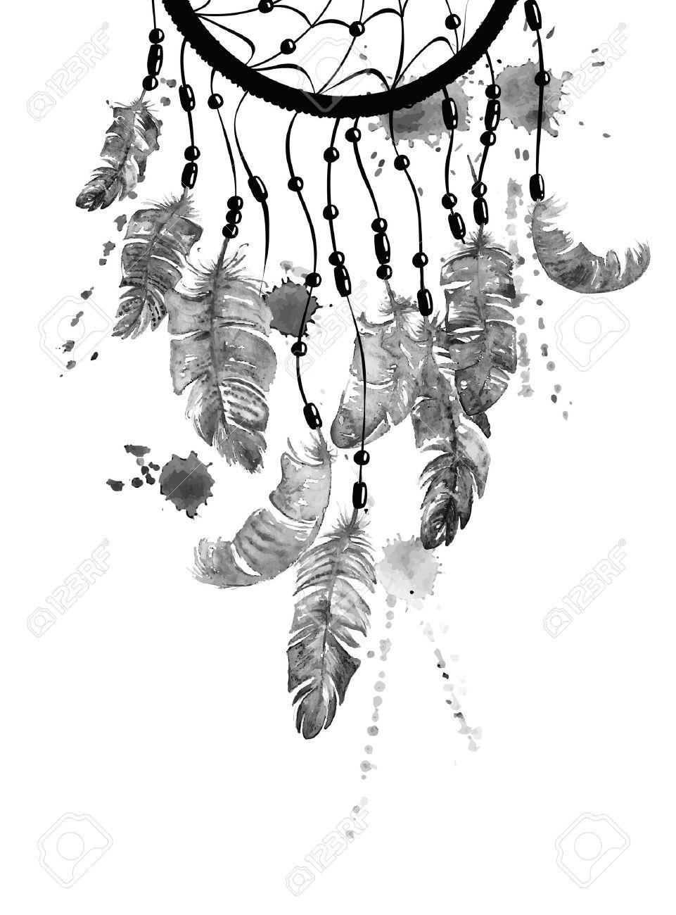 Mano Blanco Y Negro De La Acuarela Dibujado Ilustración étnico Con