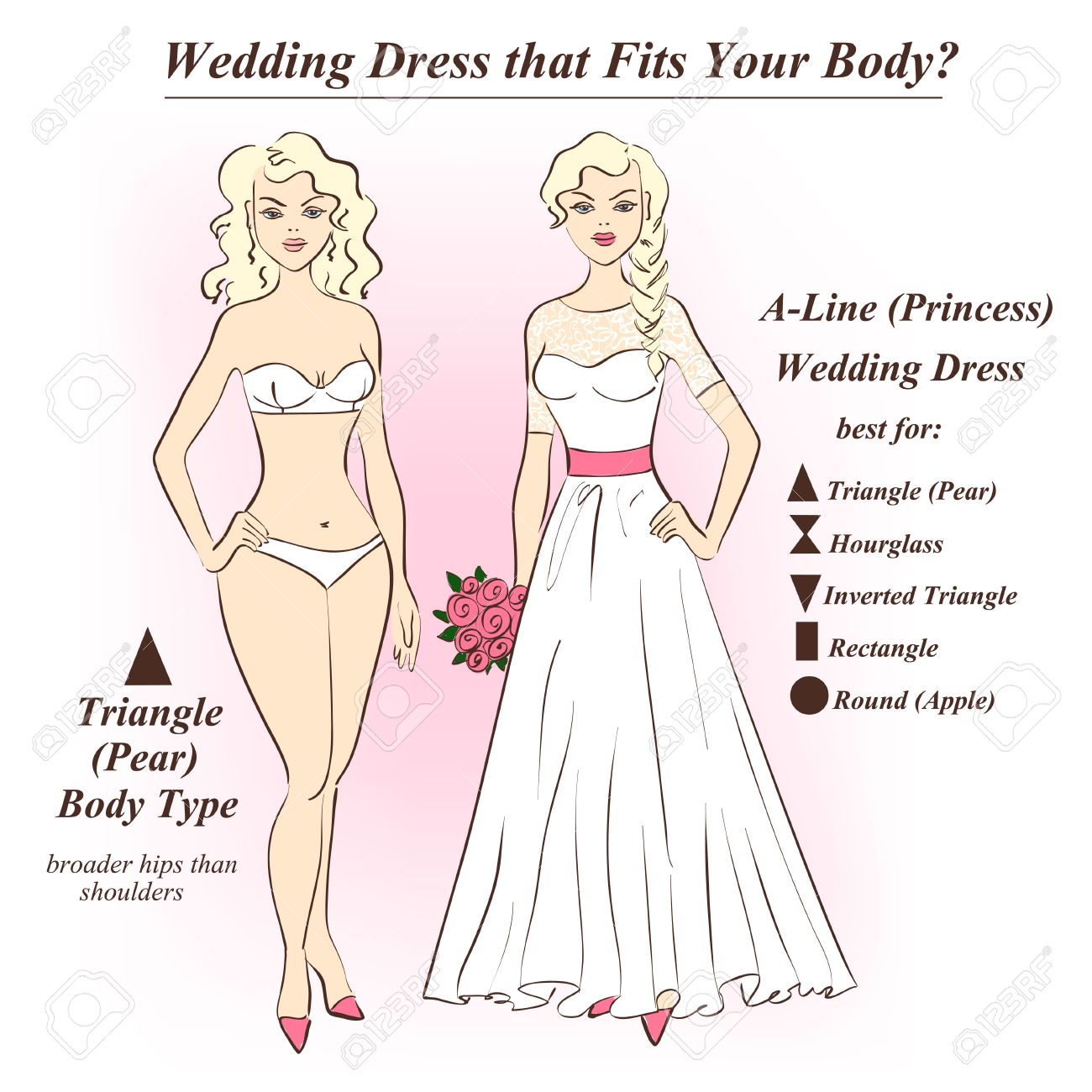 Wedding dress for rectangle body shape
