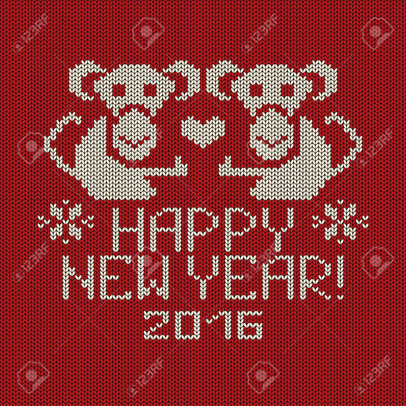 Knitted Pattern Card With Funny Monkey. Chinese Zodiac Symbol ...