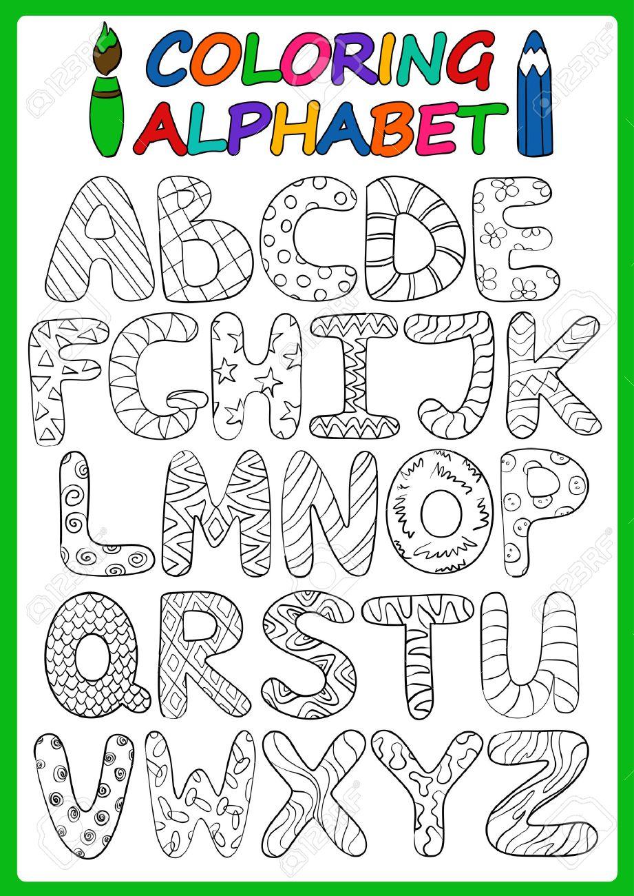Enfants Alphabet Avec Des Lettres Majuscules De Dessin Anime Droles Livre De Coloriage Enfants Alphabet Jouer Et Apprendre A Lire Clip Art Libres De Droits Vecteurs Et Illustration Image 44790710