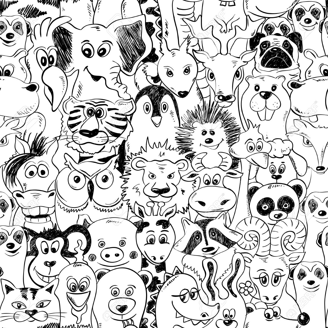 Black And White Psychedelic Seamless Pattern With Funny Animals