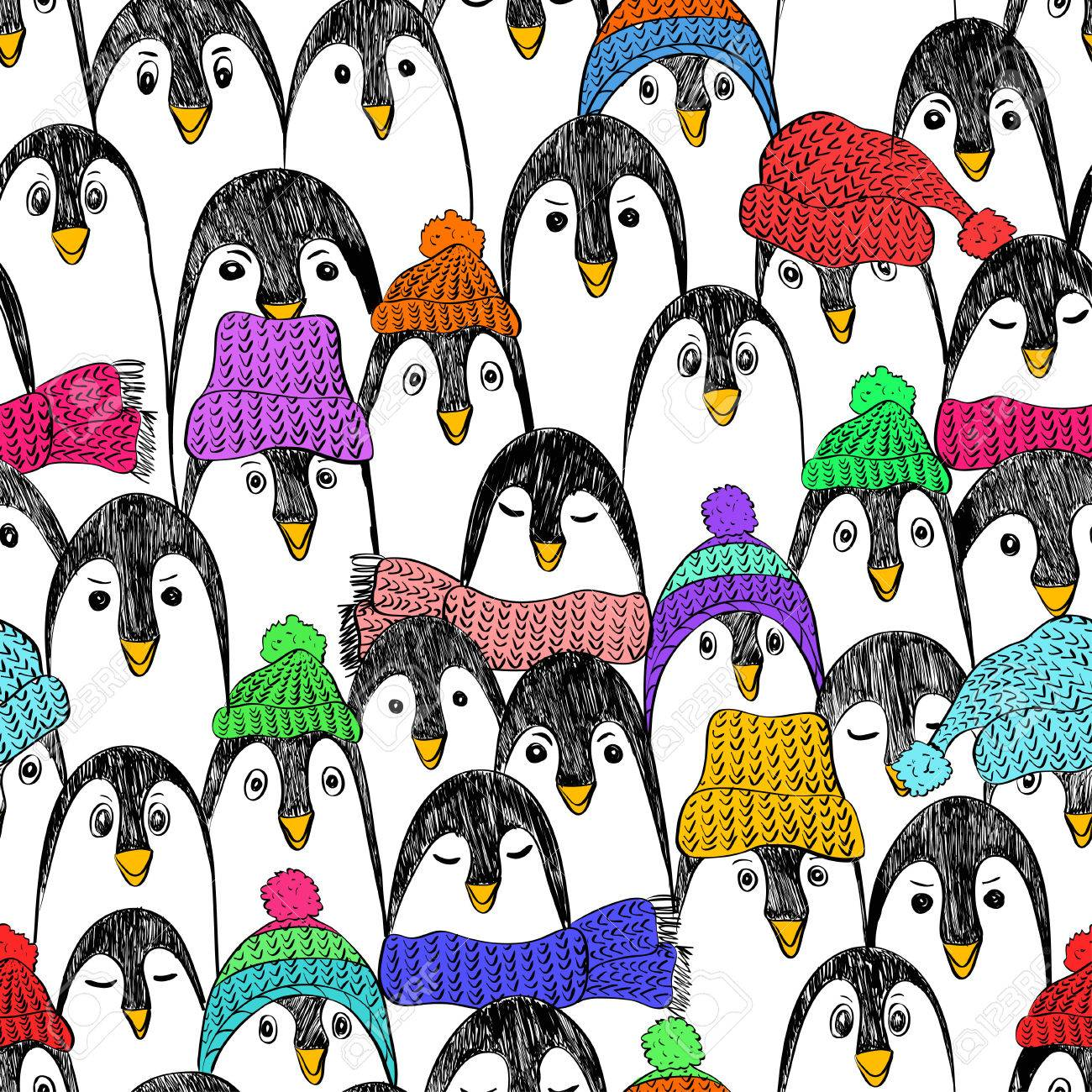 Graphic seamless pattern with cute hand drawn penguins in colorful hats and scarfs. Funny penguin background. - 55913640