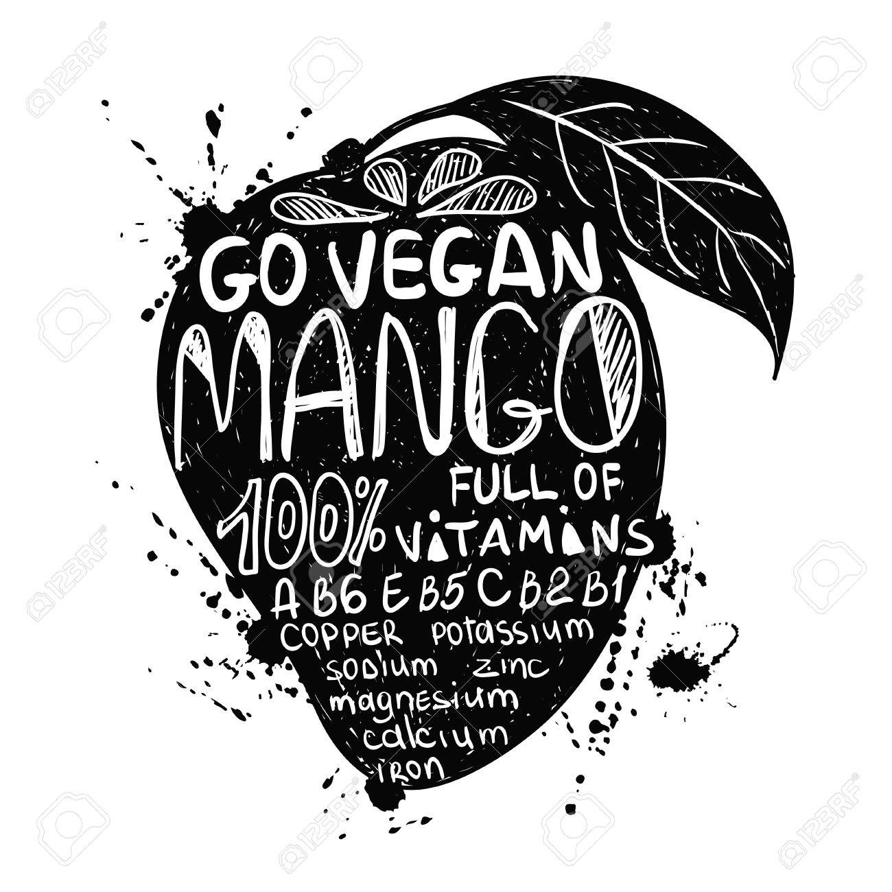 Hand Drawn Illustration Of Isolated Black Mango Fruit Silhouette On A White Background Typography Poster