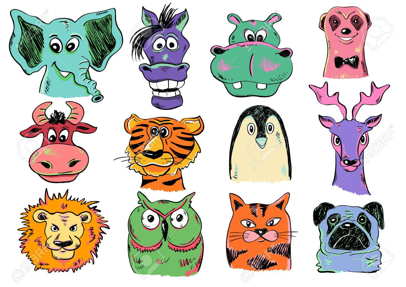 Set of isolated funny cartoon smiling animal face icons  Creative