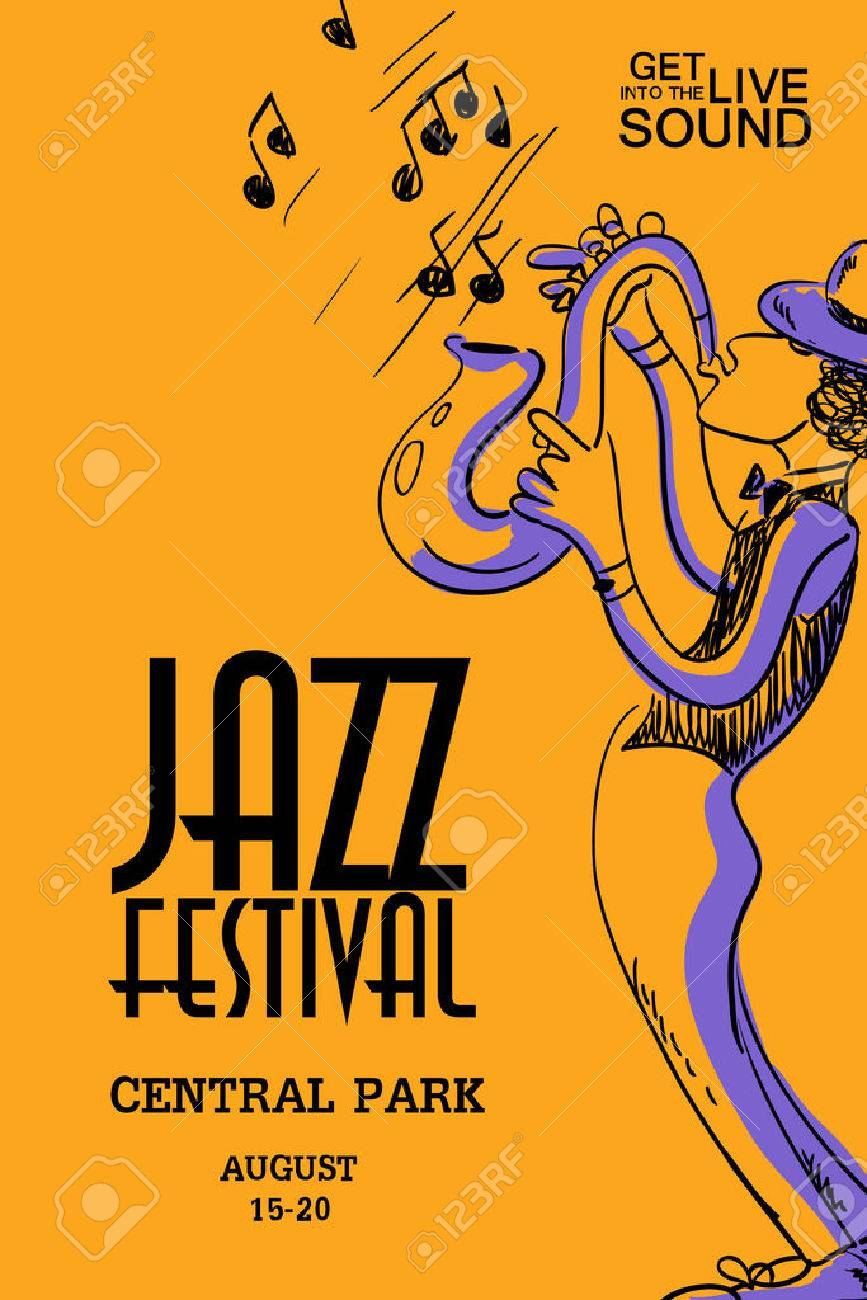 Musical creative poster with saxophone player jazz festival musical creative poster with saxophone player jazz festival design concept invitation stock vector stopboris Choice Image