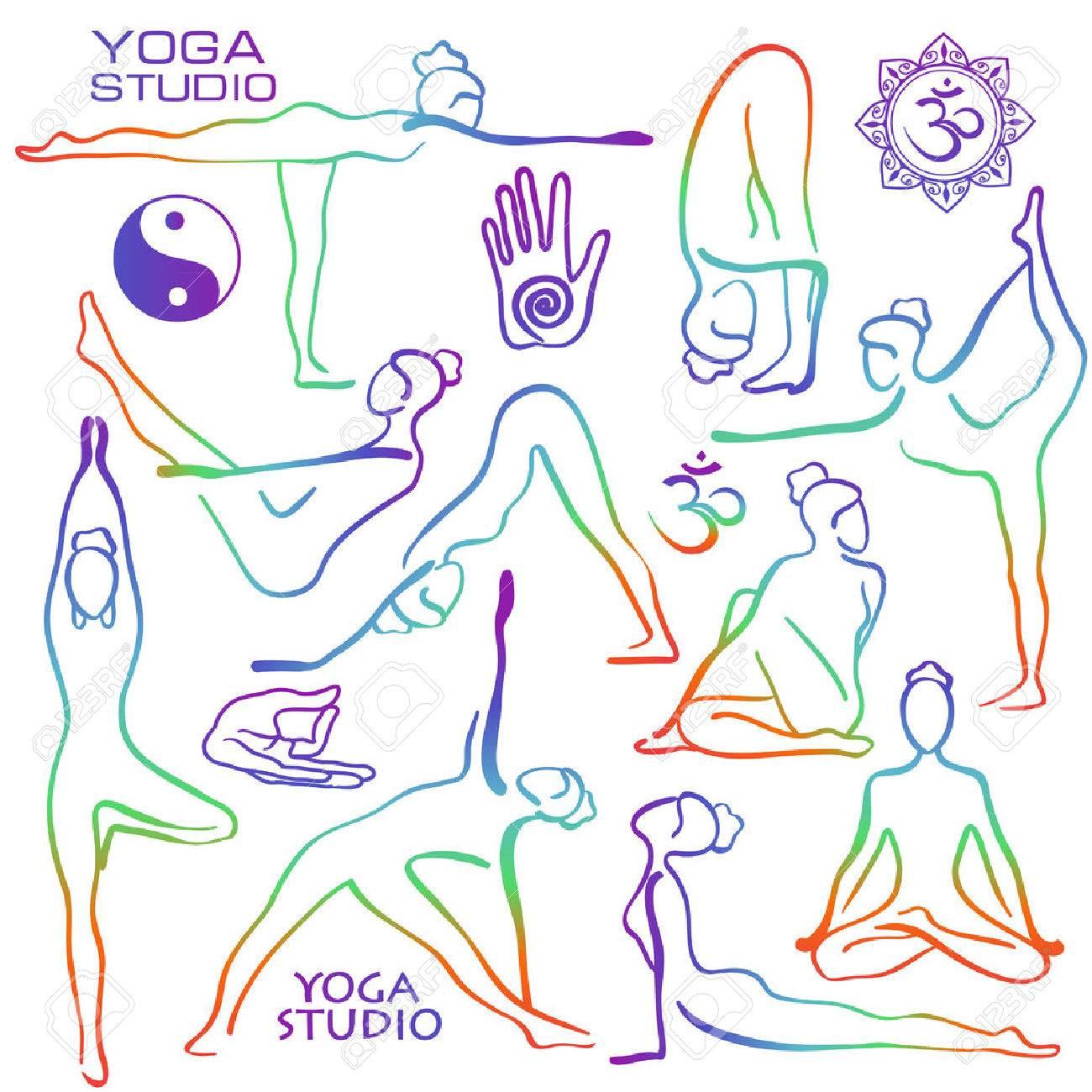 Set of isolated rainbow hand drawn outline yoga poses. Collection of stylized female yoga asanas. - 60154459