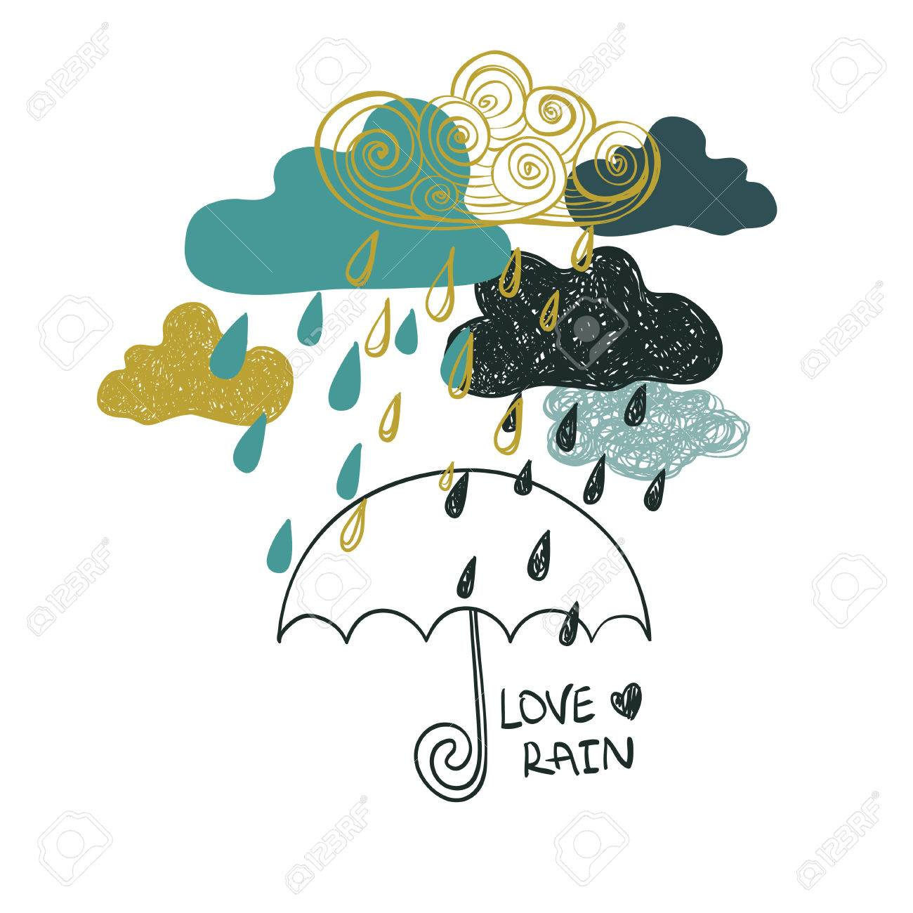 Illustration of cute colorful rain clouds and umbrella creative illustration of cute colorful rain clouds and umbrella creative rainy background or card concept thecheapjerseys Gallery