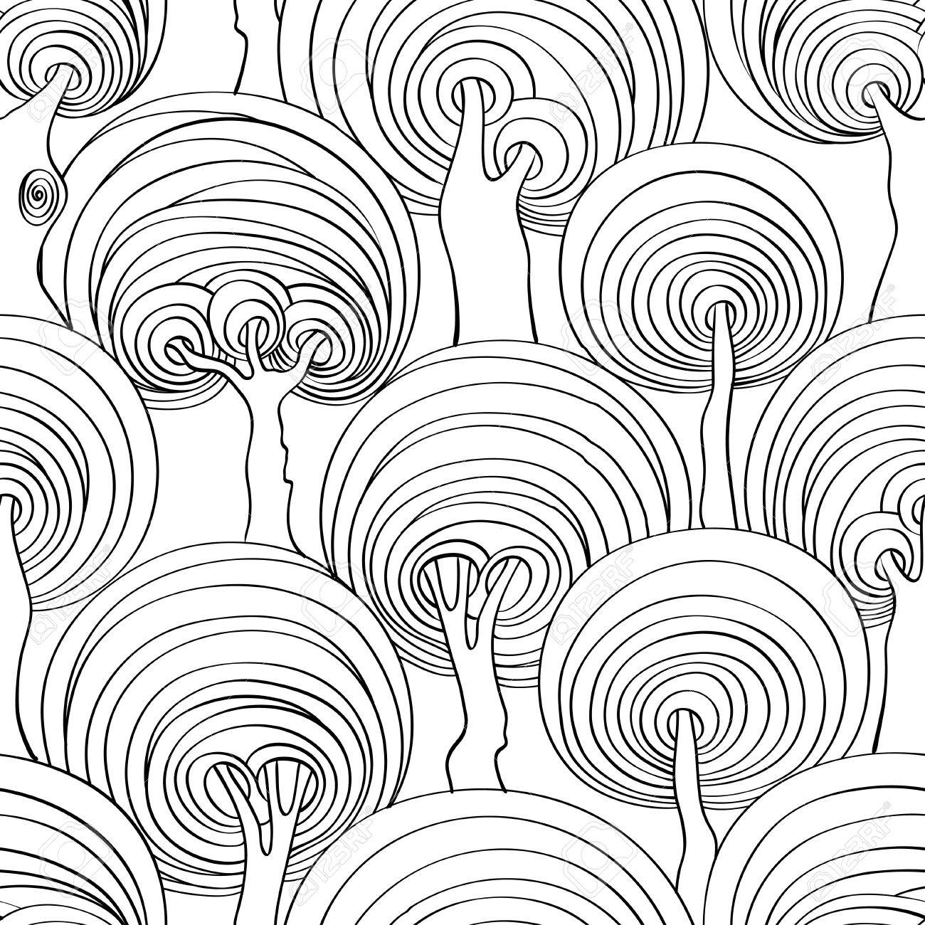 Graphic seamless pattern of psychedelic crazy trees. Adult antistress..
