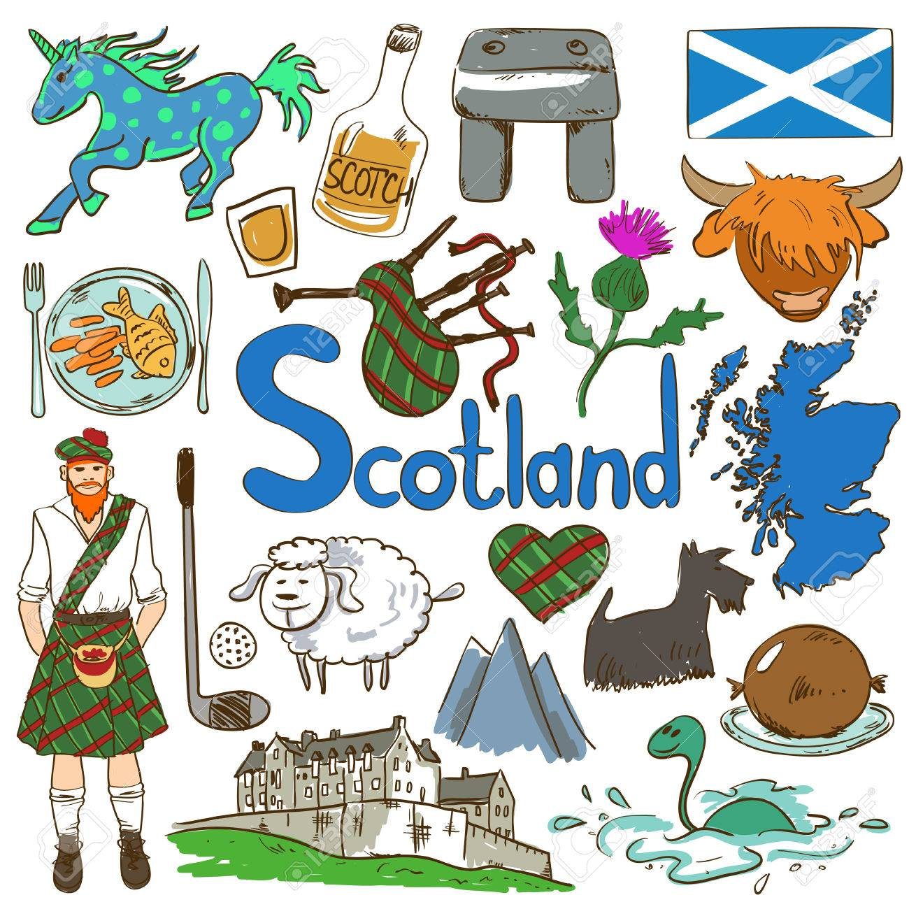Fun colorful sketch collection of scottish icons travel concept fun colorful sketch collection of scottish icons travel concept of scotland symbols and association buycottarizona Image collections