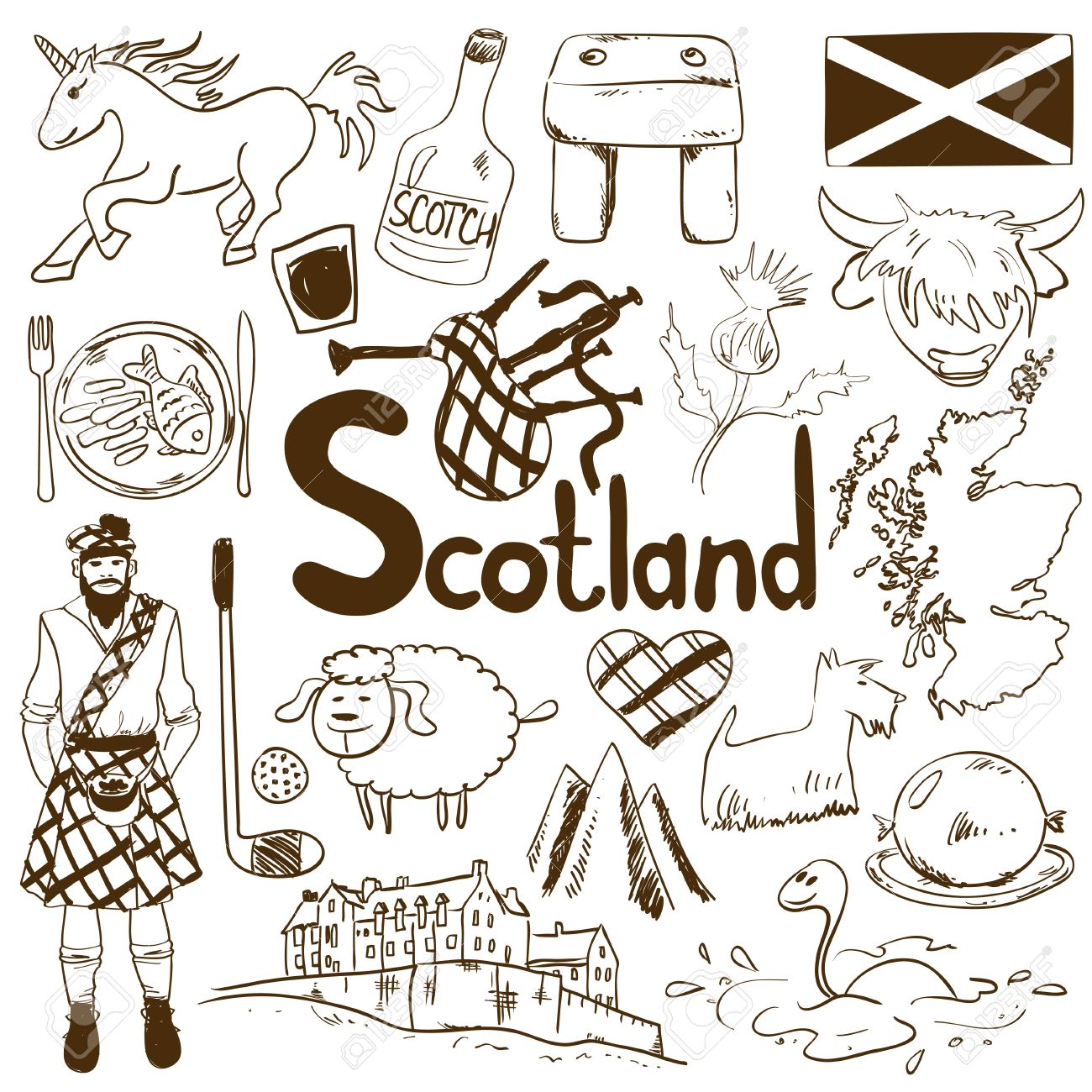 Fun Sketch Collection Of Scottish Icons Travel Concept Of Scotland