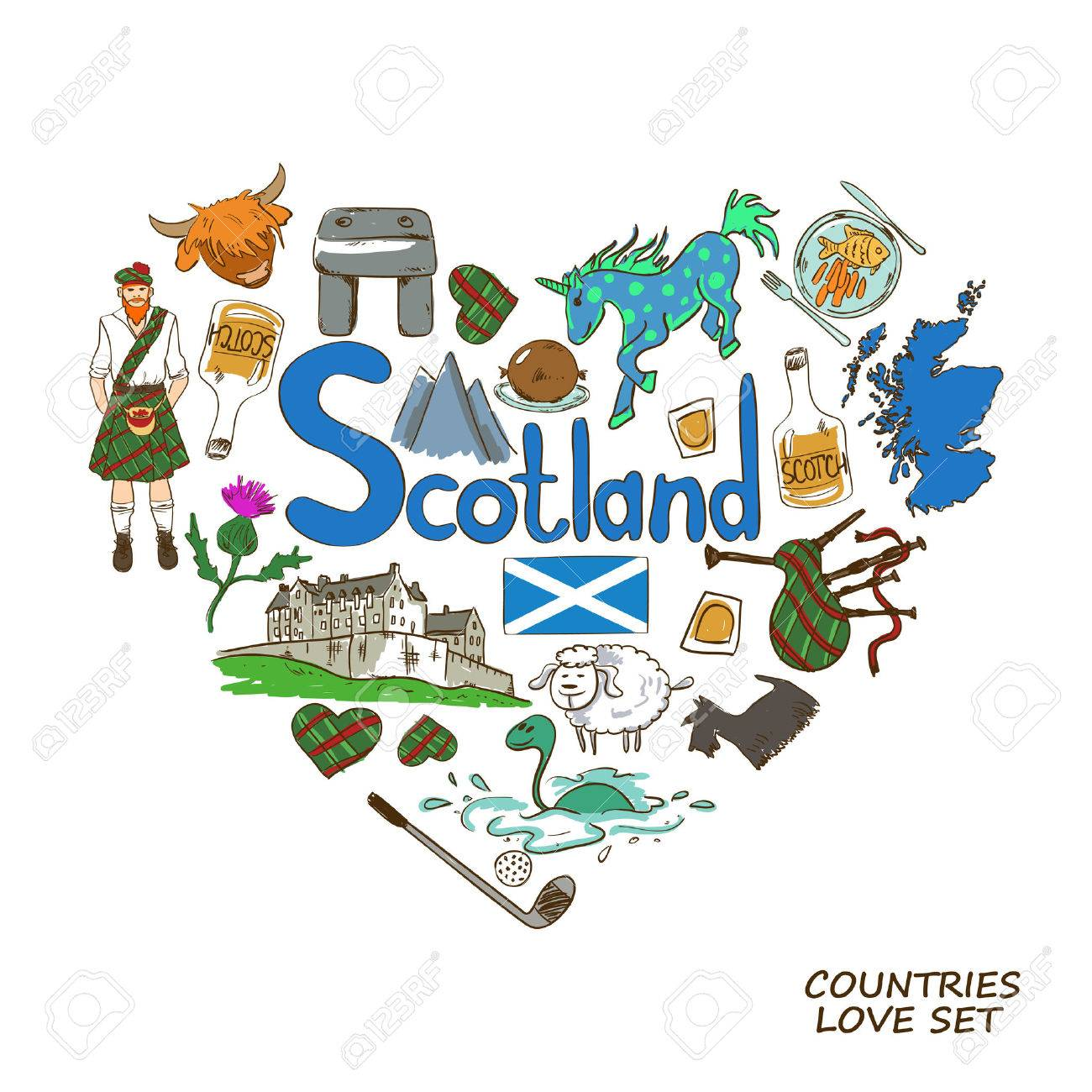 Colorful sketch collection of scottish symbols heart shape concept colorful sketch collection of scottish symbols heart shape concept scotland travel background stock buycottarizona Image collections