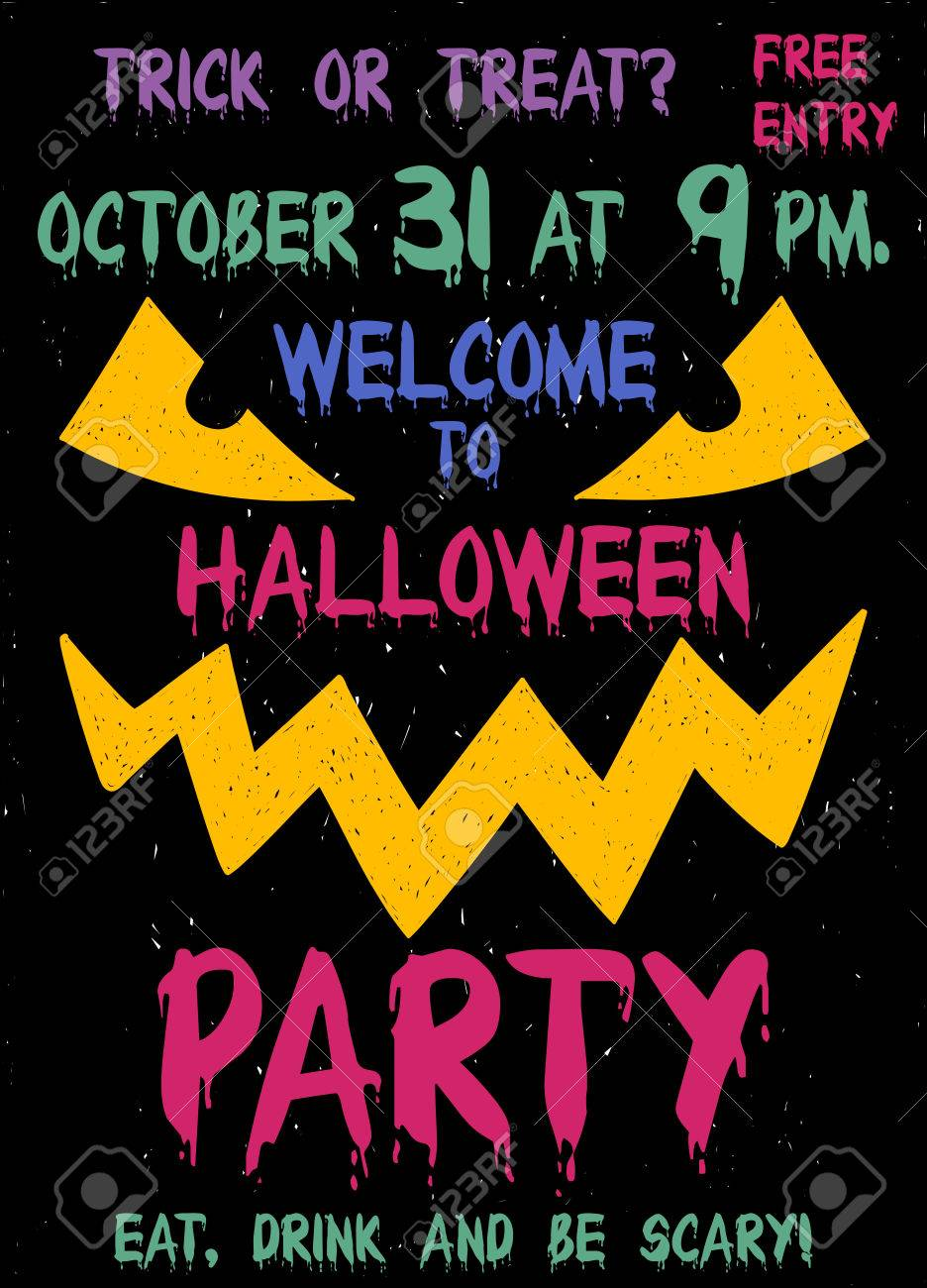 Halloween Party Flyer Or Poster. Funny Cartoon Face Of Smiling ...