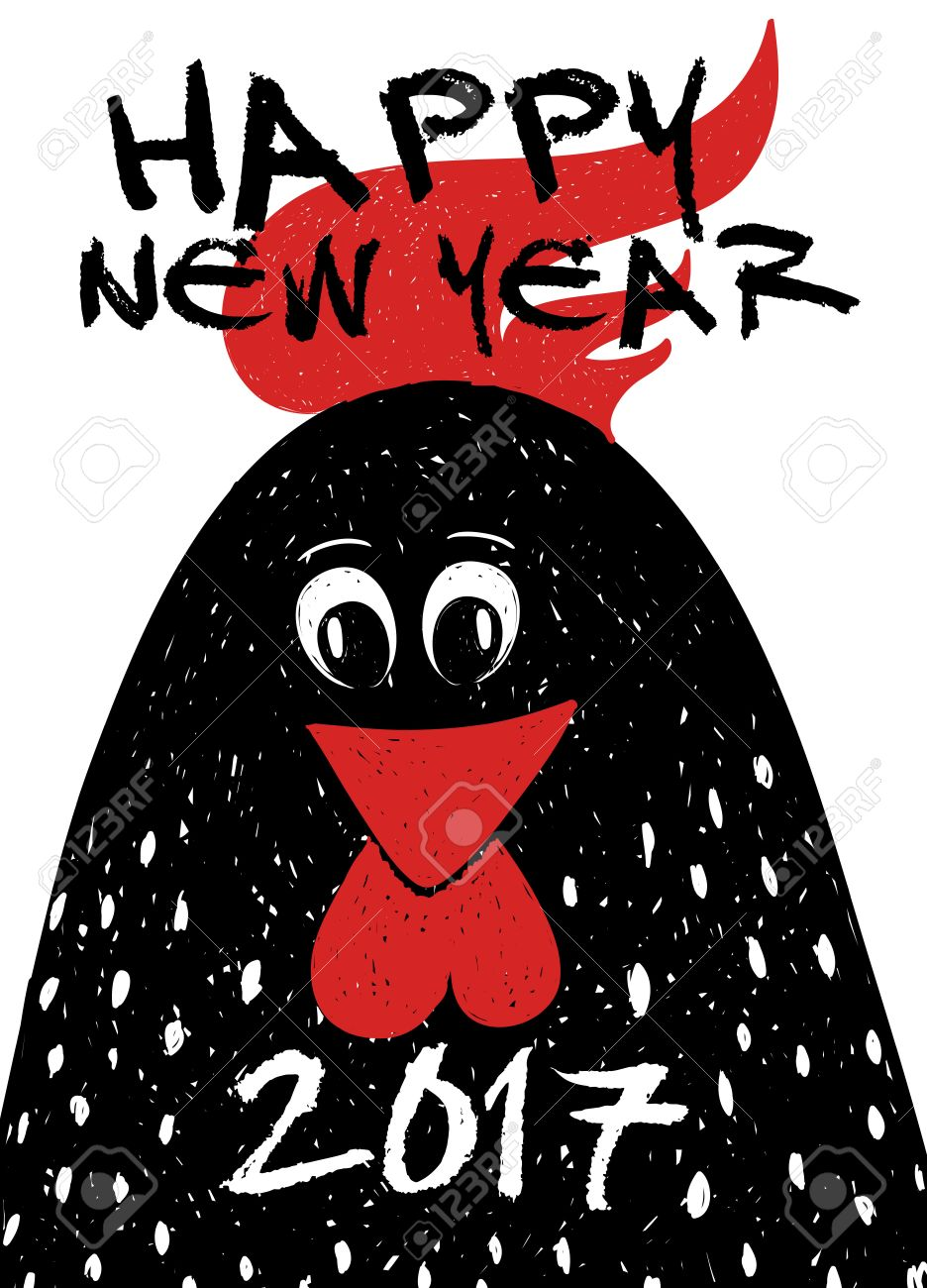 New year 2017 greeting pictures year of rooster happy chinese new year - Happy New Year Greeting Card Typography Poster With Funny Black Rooster Symbol Of The