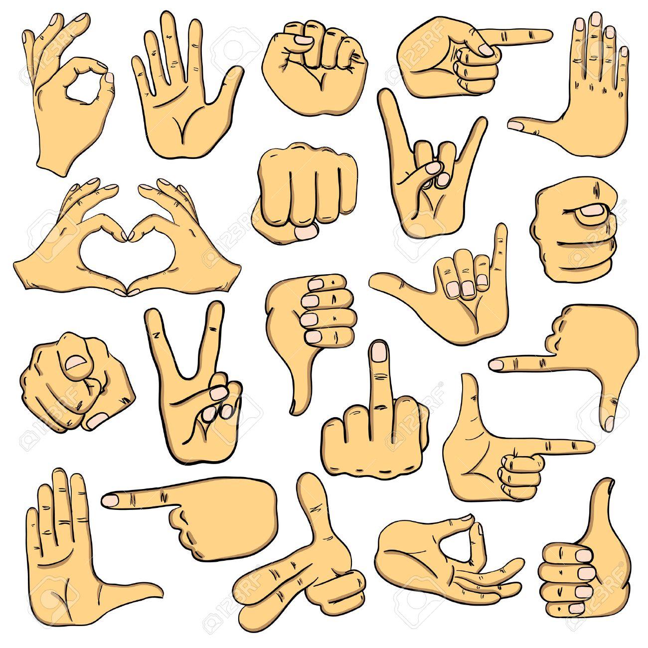 Conjunto De Manos Humanas Iconos De Dibujos Animados Emoji Gestos Signos Y Señales