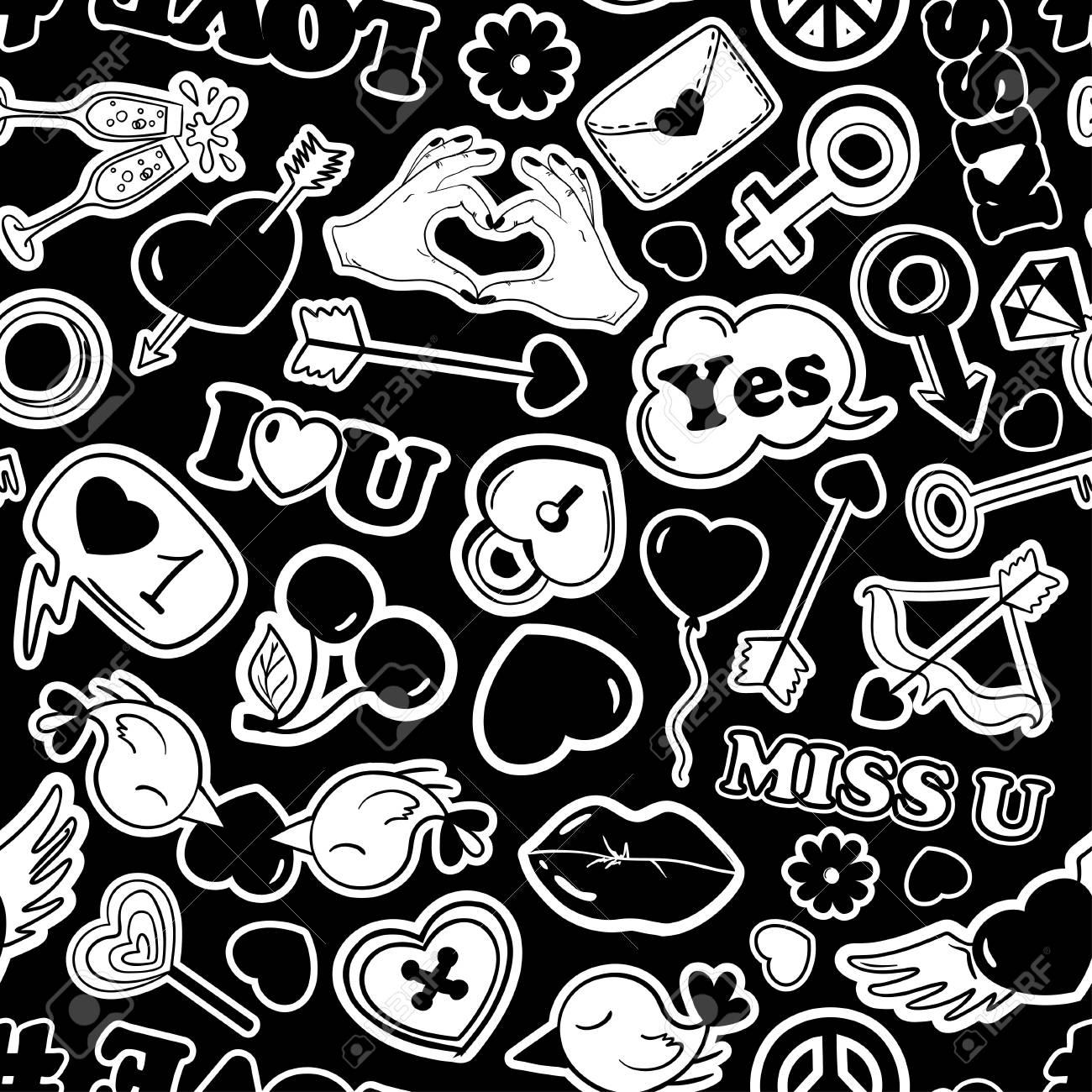 Schwarz Weiss Lustige Nahtlose Muster Der Liebe Aufkleber Emojis
