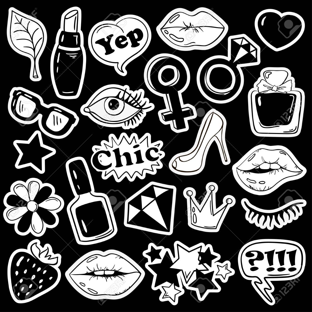 Black and white fun set of girls fashion stickers icons emoji pins or