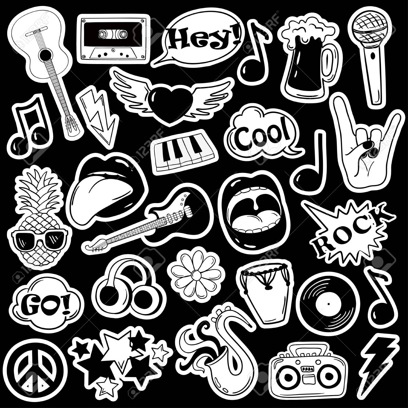 Black and white fun set of music stickers, icons, emoji, pins