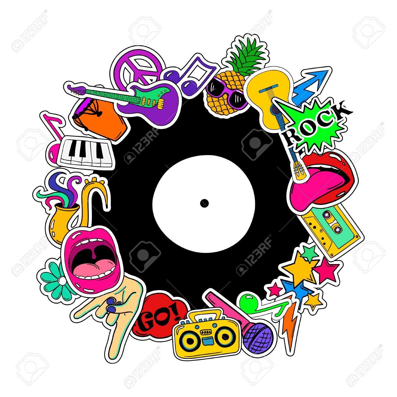 Colorful fun background of music stickers, icons, emoji, pins