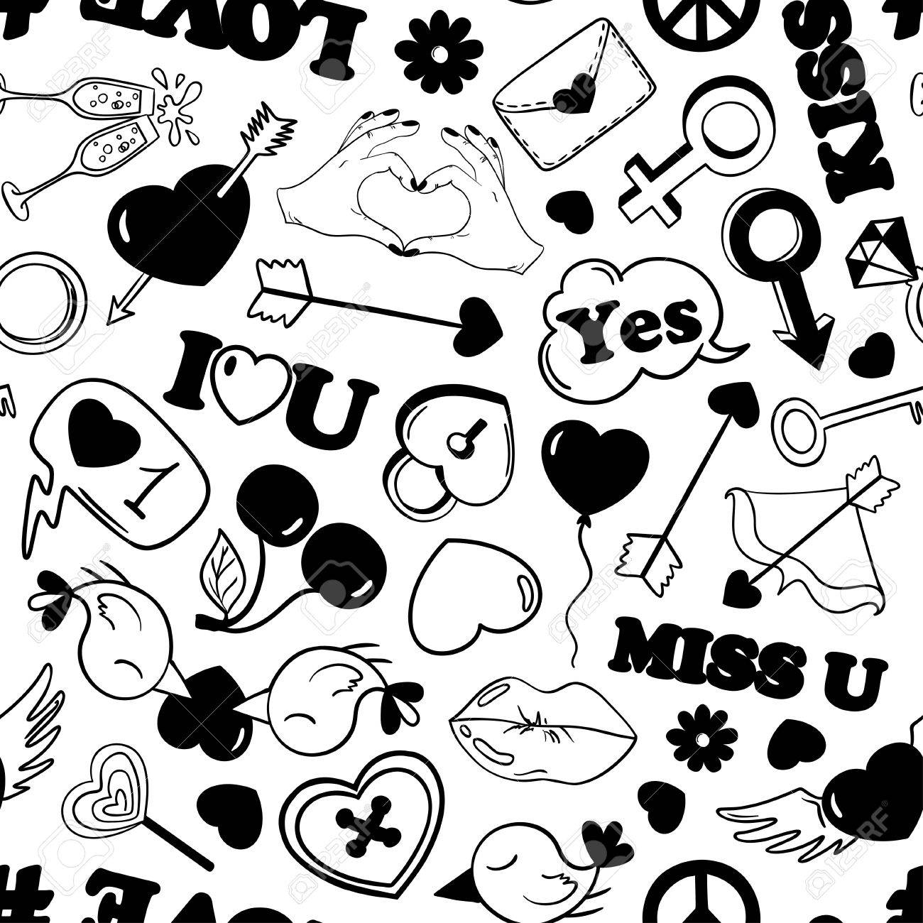 Black and white fun pattern of love stickers emoji pins or patches in cartoon